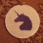 Purple Unicorn Cross Stitch