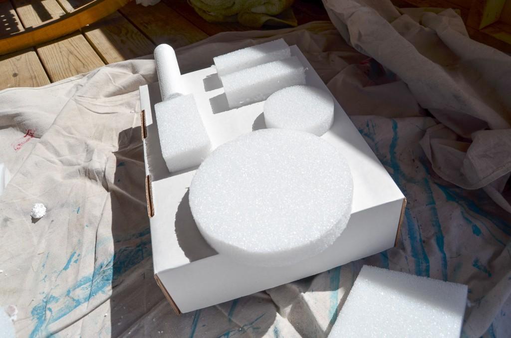 place the foam pieces