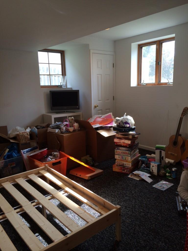 basement bedroom clean up