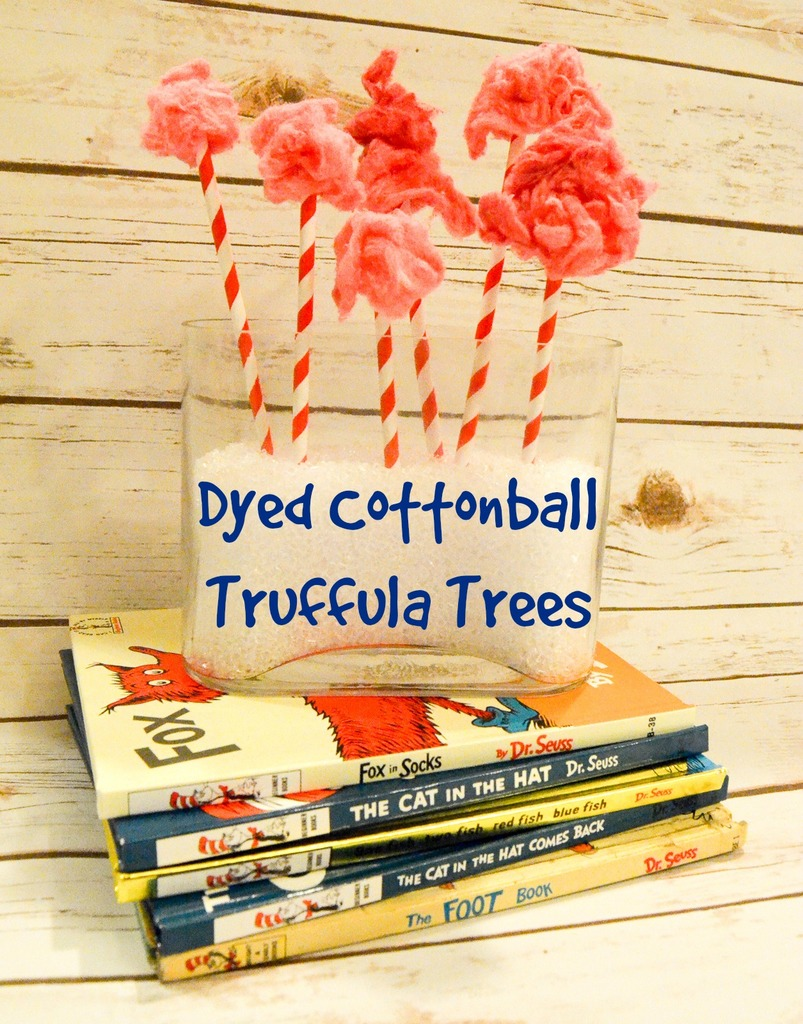 Dyed Cottonball Truffula Trees #DrSeuss #CraftLightning