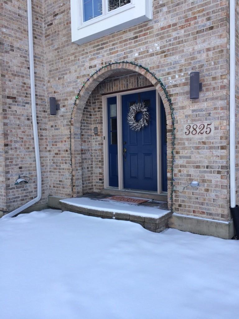 snowy front door