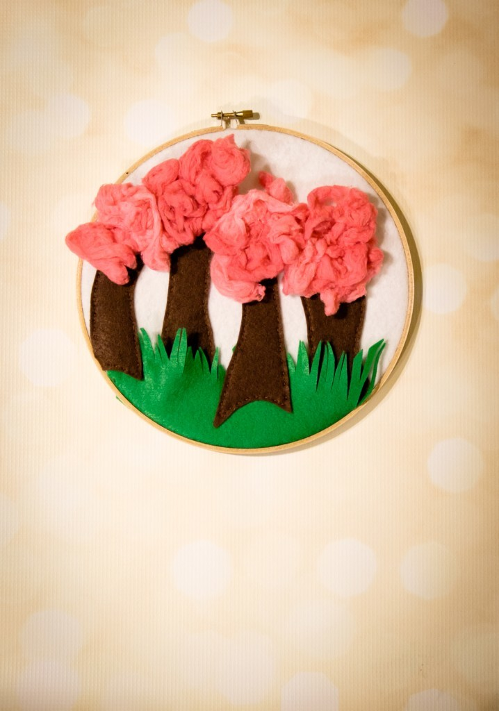 Fabulous Fluffy Felt Forest Hoop Art
