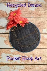 Recycled Denim Pocket Hoop Art
