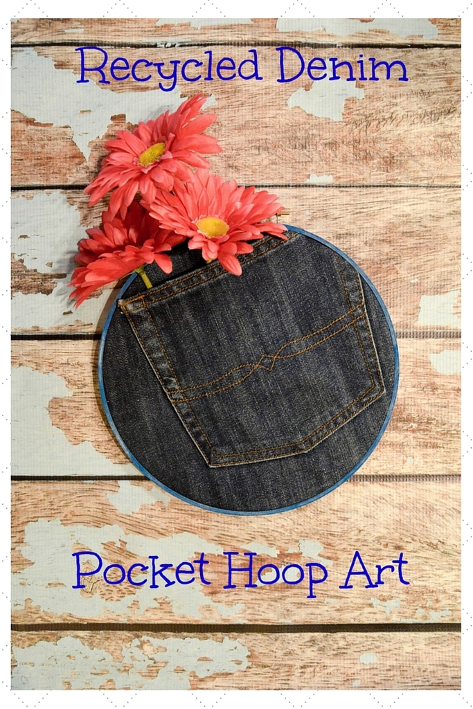 Recycled Denim Pocket Hoop Art