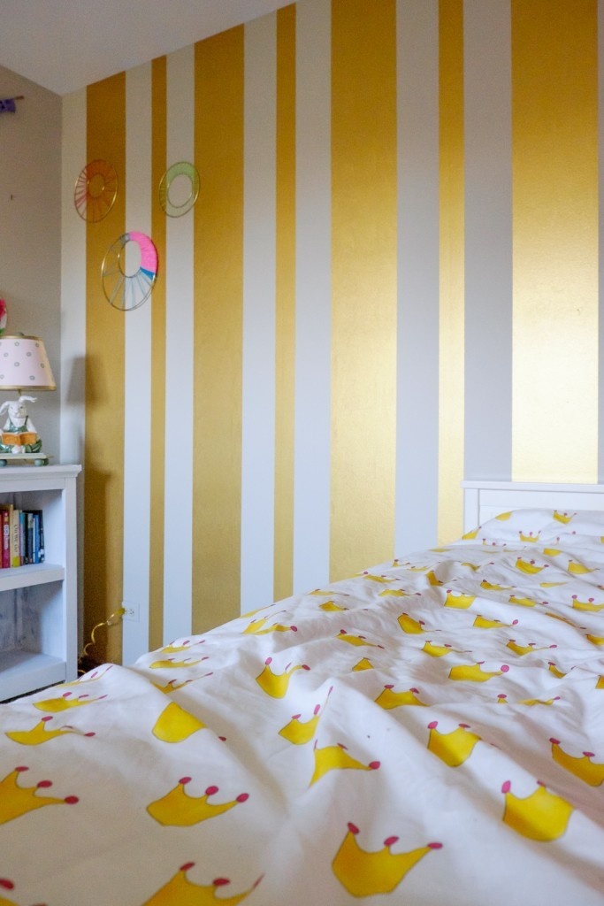 Gold Striped Feature Wall