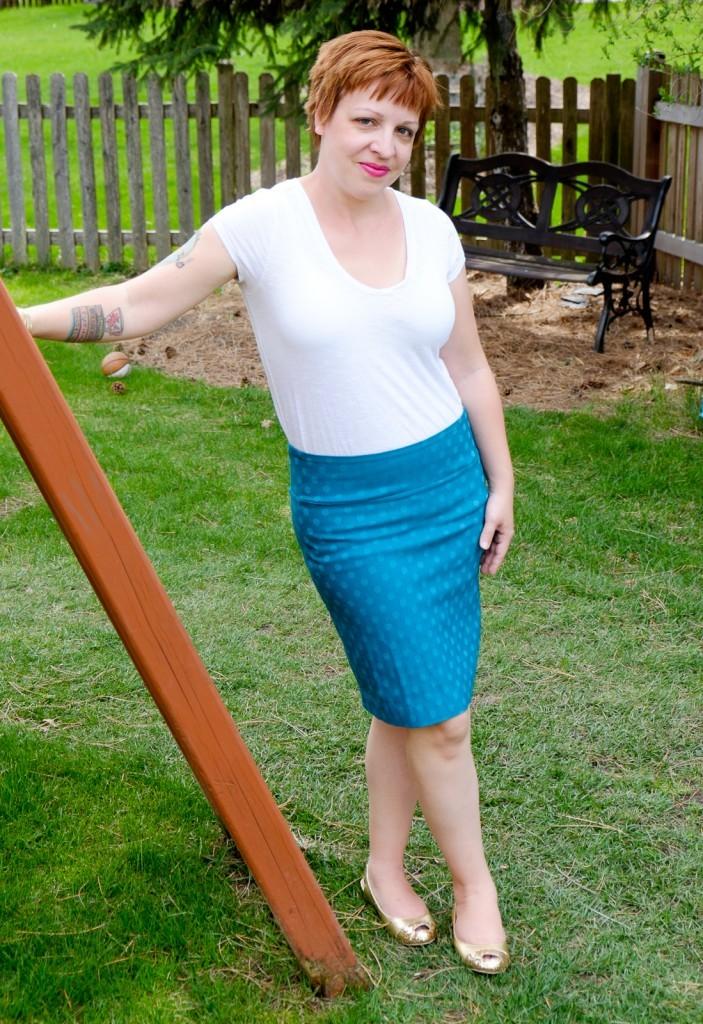 Christiana Textured Polka Dot Pencil Skirt