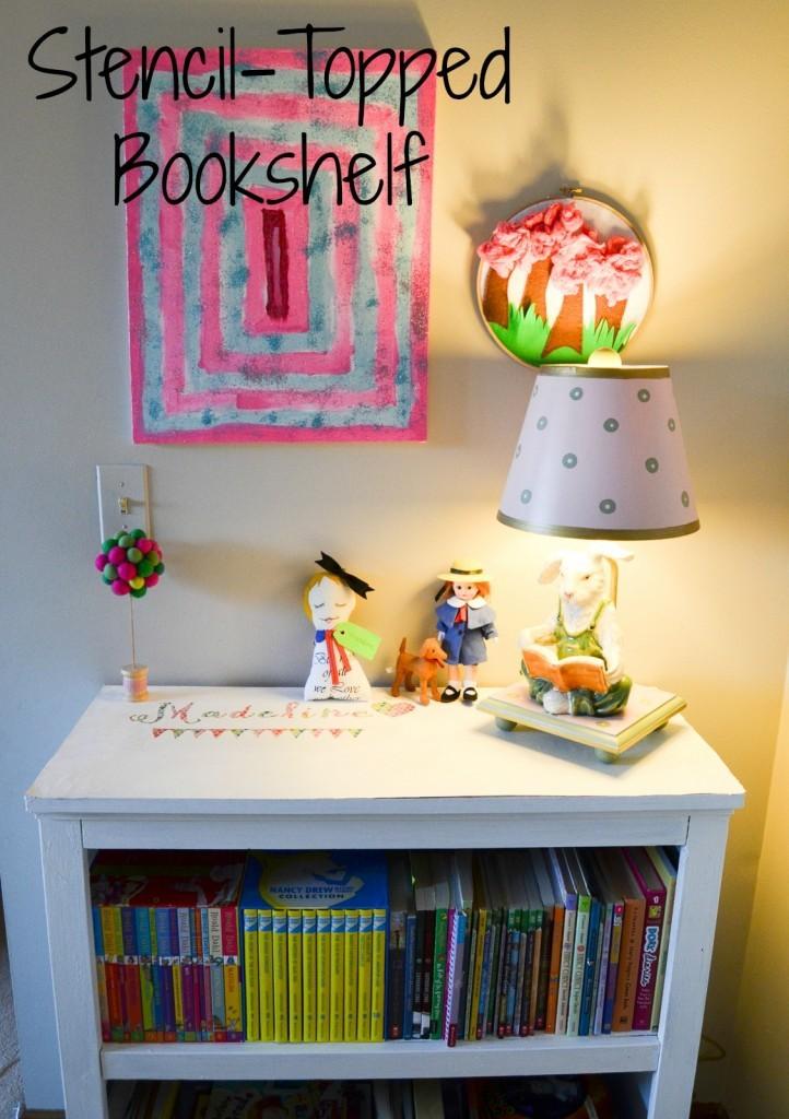 Stencil-Topped Bookshelf