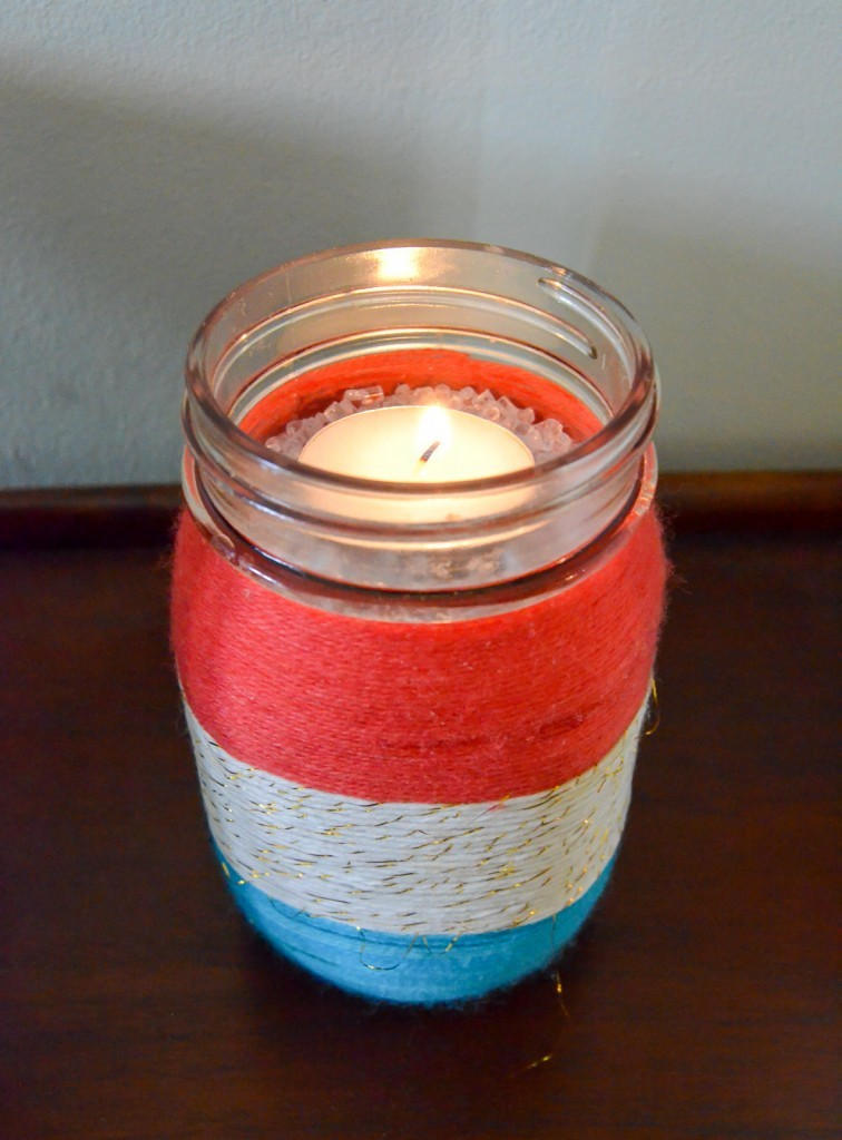 Patriotic Yarn Wrapped Mason Jar