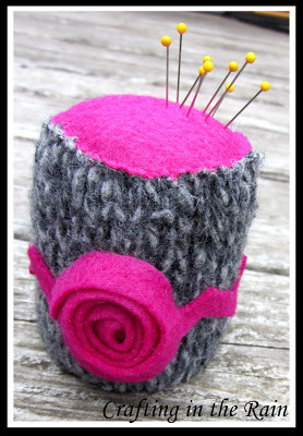 pink gray pin cushion