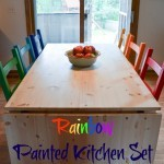 Rainbow Painted Kitchen Set