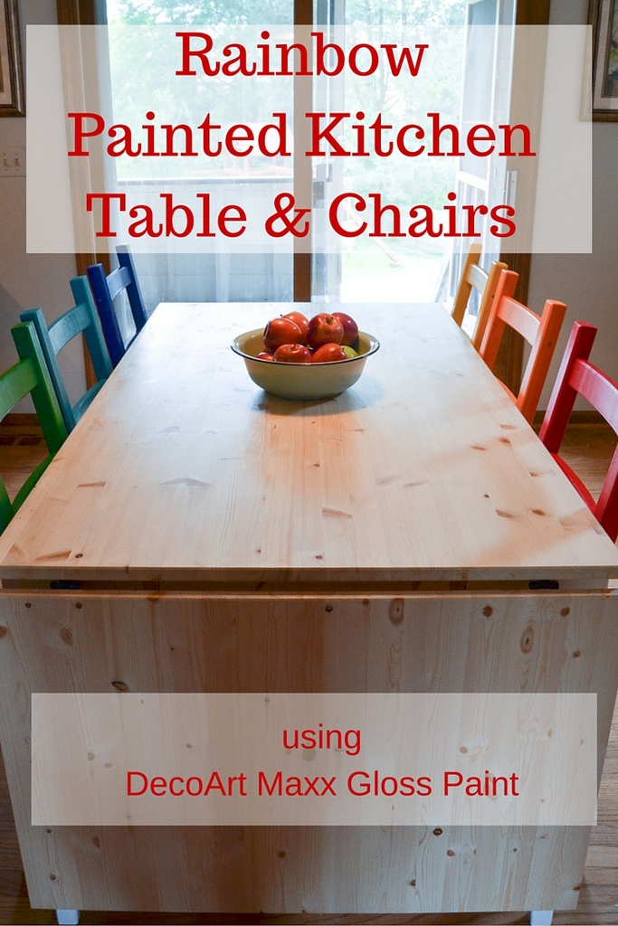 Rainbow Painted Kitchen Table & Chairs
