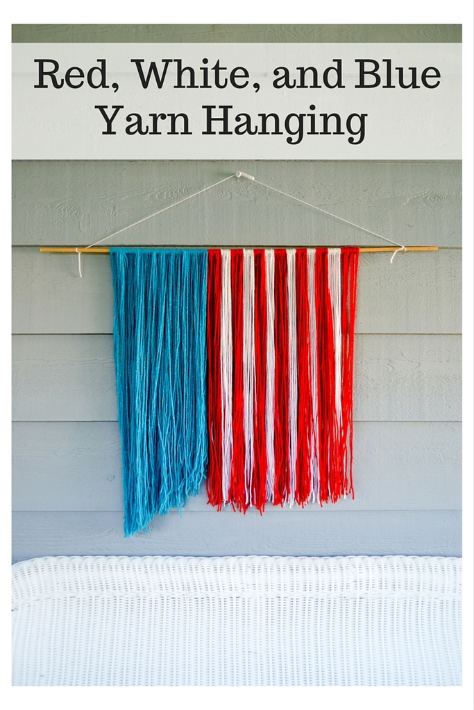 Red, White, and Blue Yarn Hanging
