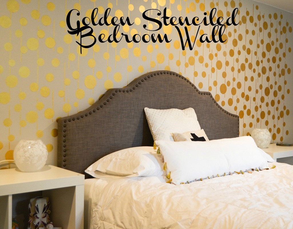 Golden Stenciled Bedroom Wall Albion Gould - Bedroom wall stencils design
