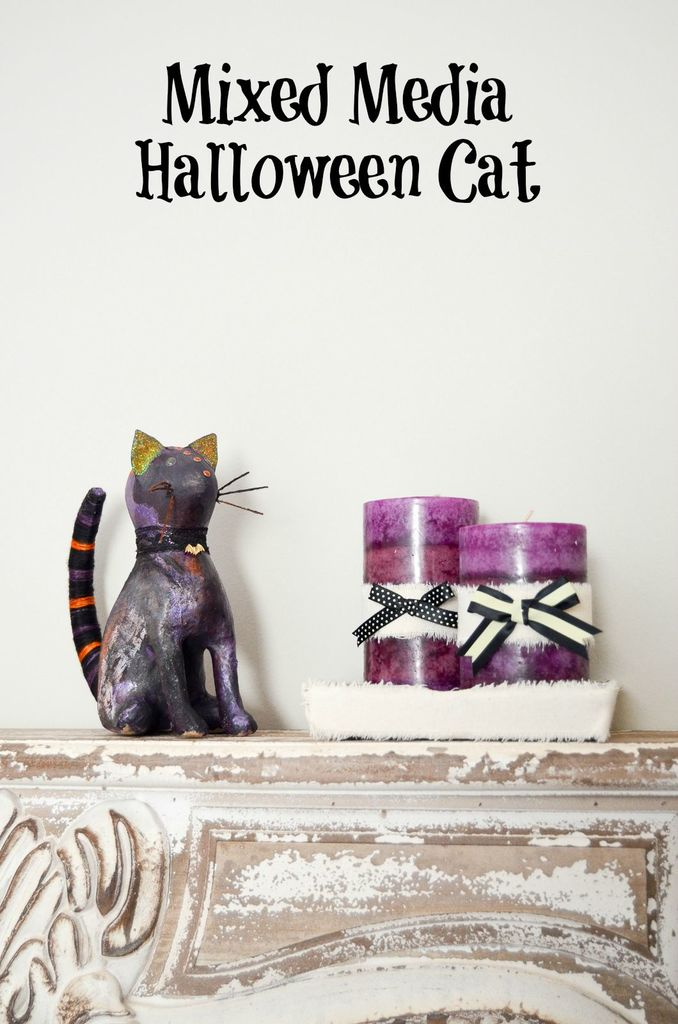 Mixed Media Halloween Cat