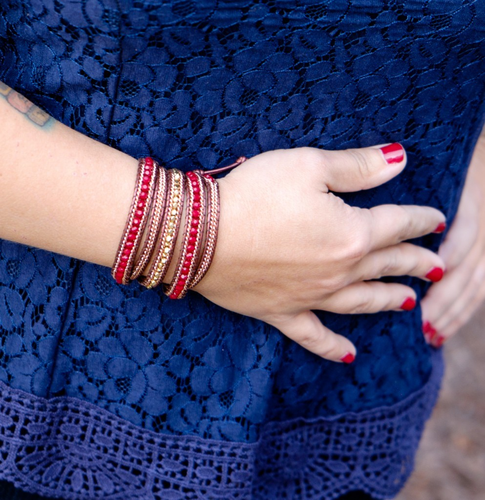 Burgundy & Rose Gold Wrap Bracelet