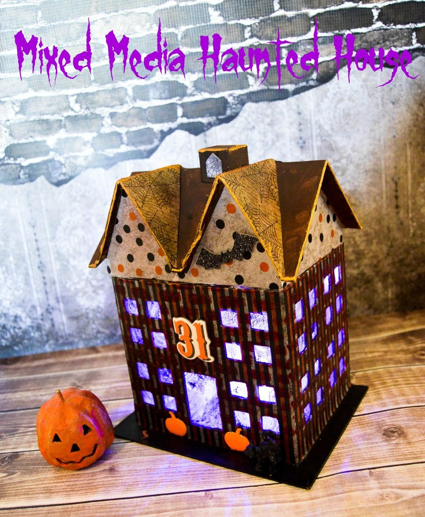 Mixed media haunted house albion gould for Pinterest haunted house