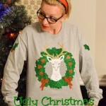 Reindeer Wreath Ugly Christmas Sweater