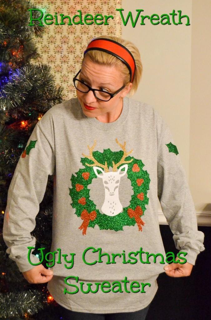Reindeer Wreath Ugly Christmas Sweater