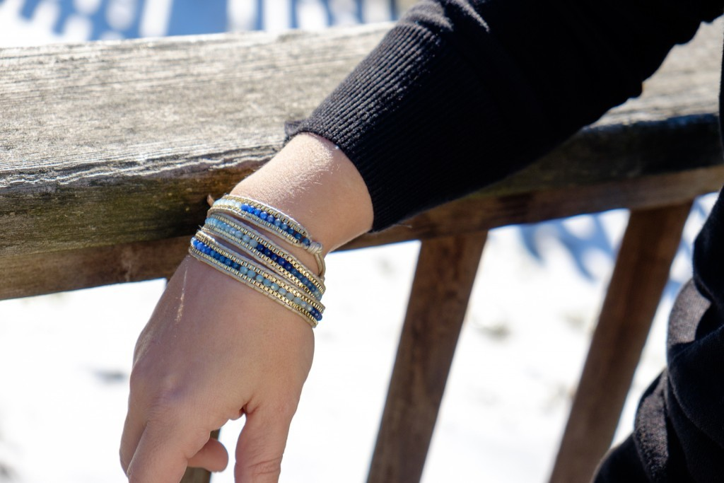 Lapis and Gold Wrap Bracelet by Nakamol