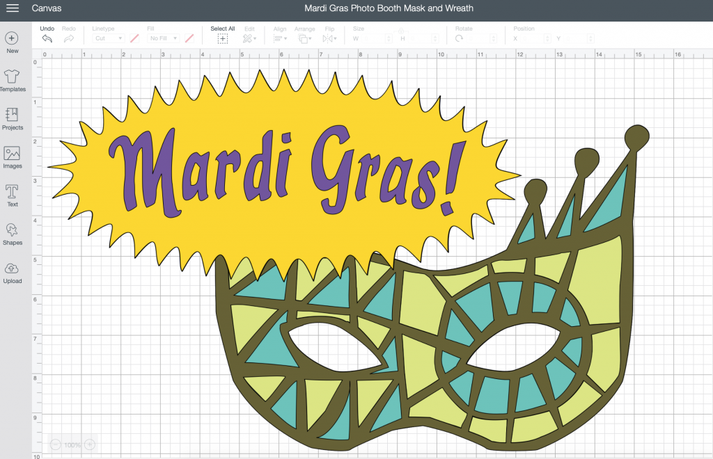 Mardi Gras Photo Booth Mask and Wreath