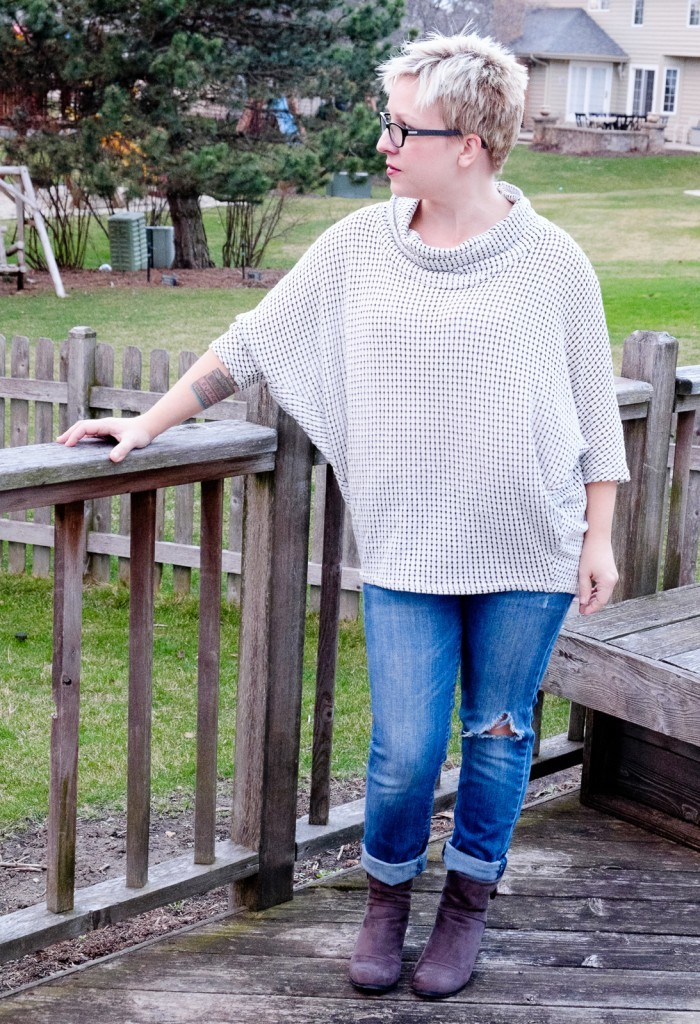 Ralphy Cowl Neck Knit Top by Laila Jayde with Kate Distressed Boyfriend Jeans by Kut from the Kloth