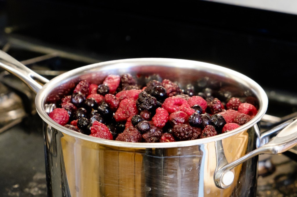 berries in saucepan