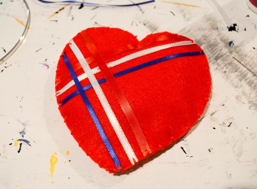 stitch the heart closed using blanket stitch