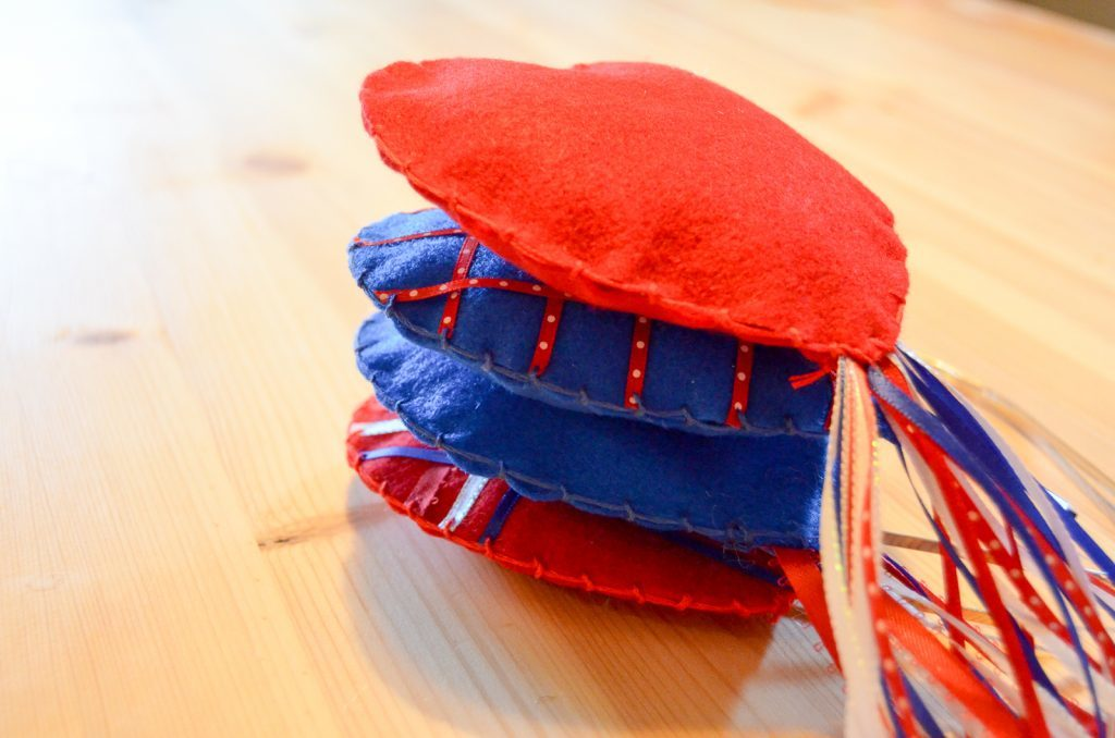 a pile of patriotic hearts