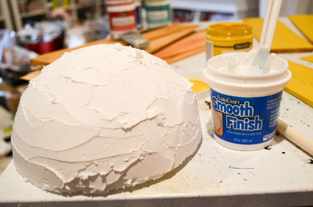 cut styrofoam and cover in smooth finish