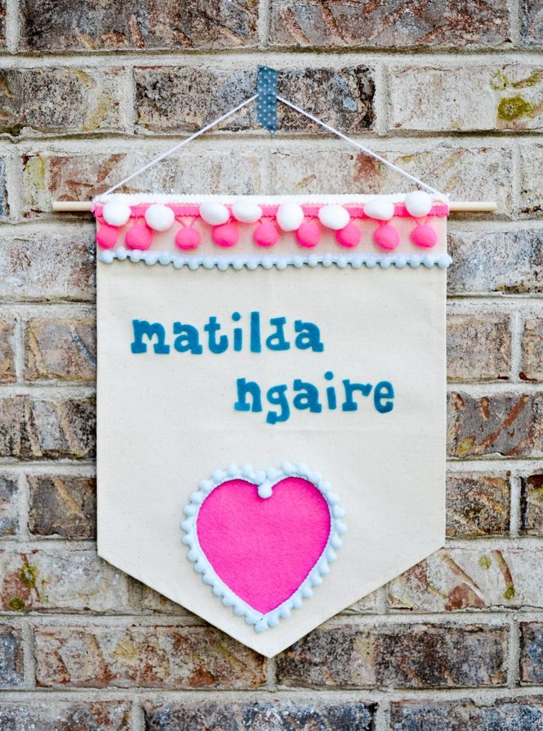 Pom Pom and Felt Name Banner