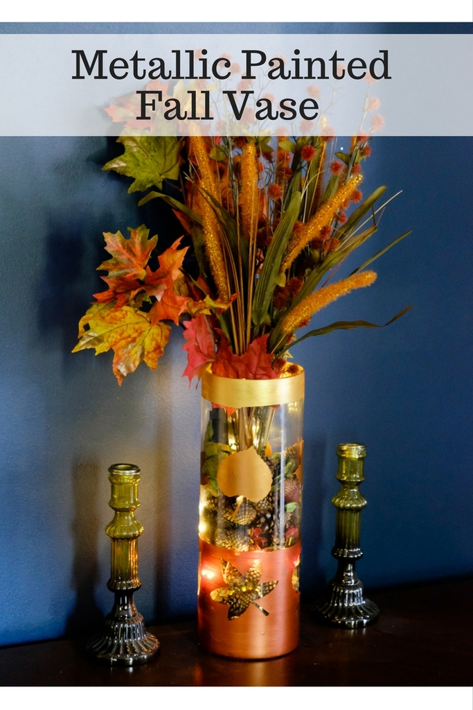 Metallic Painted Fall Vase