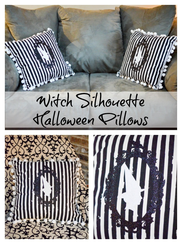 Witch Silhouette Halloween Pillows