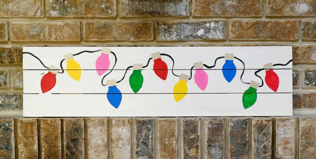 Painted Christmas Lights Pallet