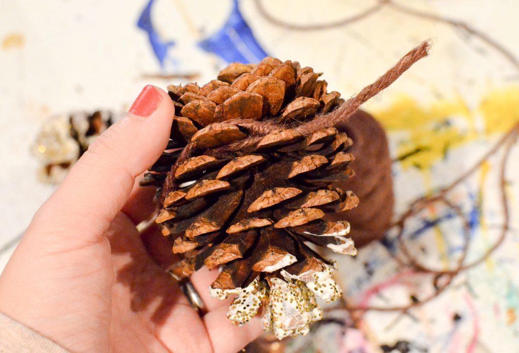 tie twine around the pinecones