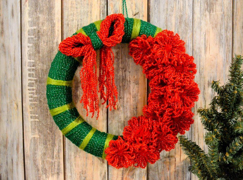 Christmas Yarn Flower Wreath