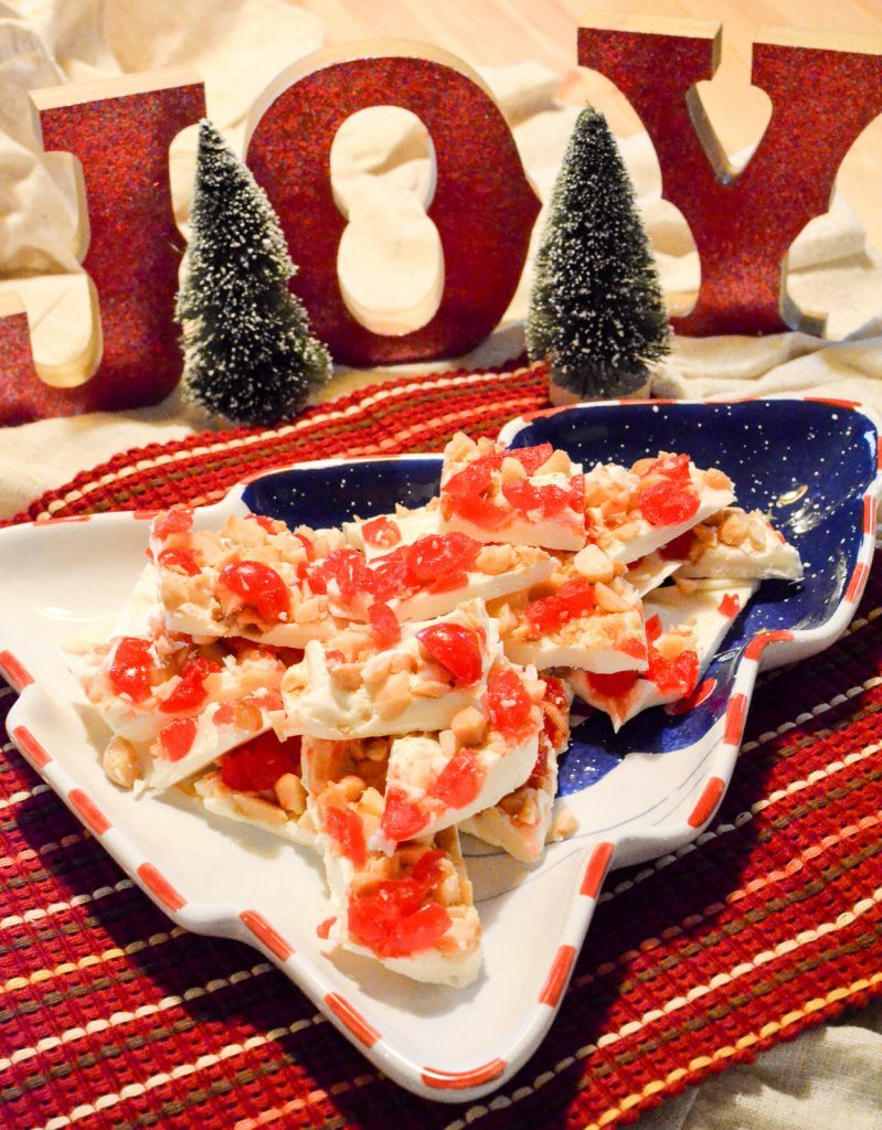 White Chocolate Cherry Macadamia Nut Bark