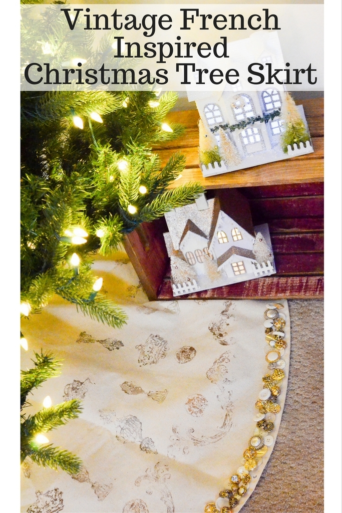 Vintage French Inspired Christmas Tree Skirt