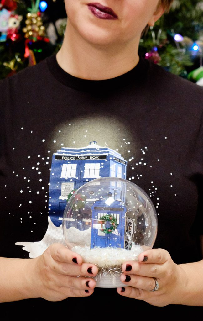 Christmas TARDIS Weeping Angel Snow Globe