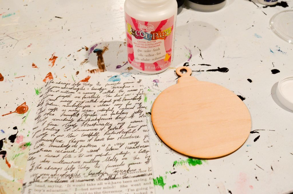 attach paper with decoupage