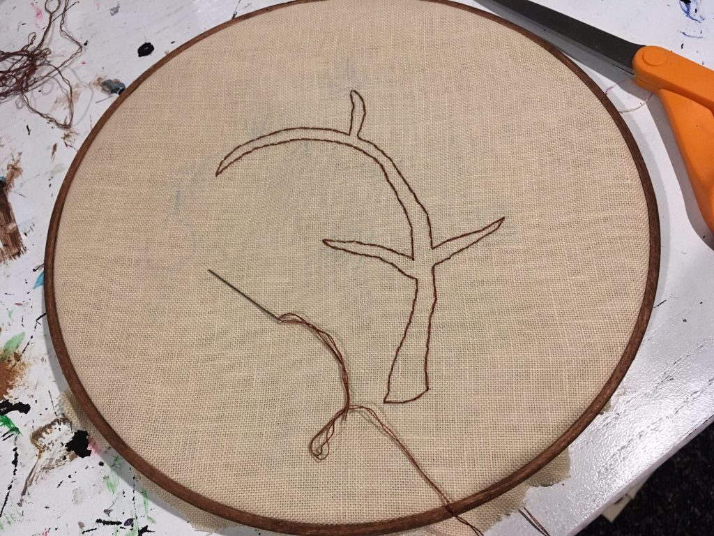 back stitch the outline