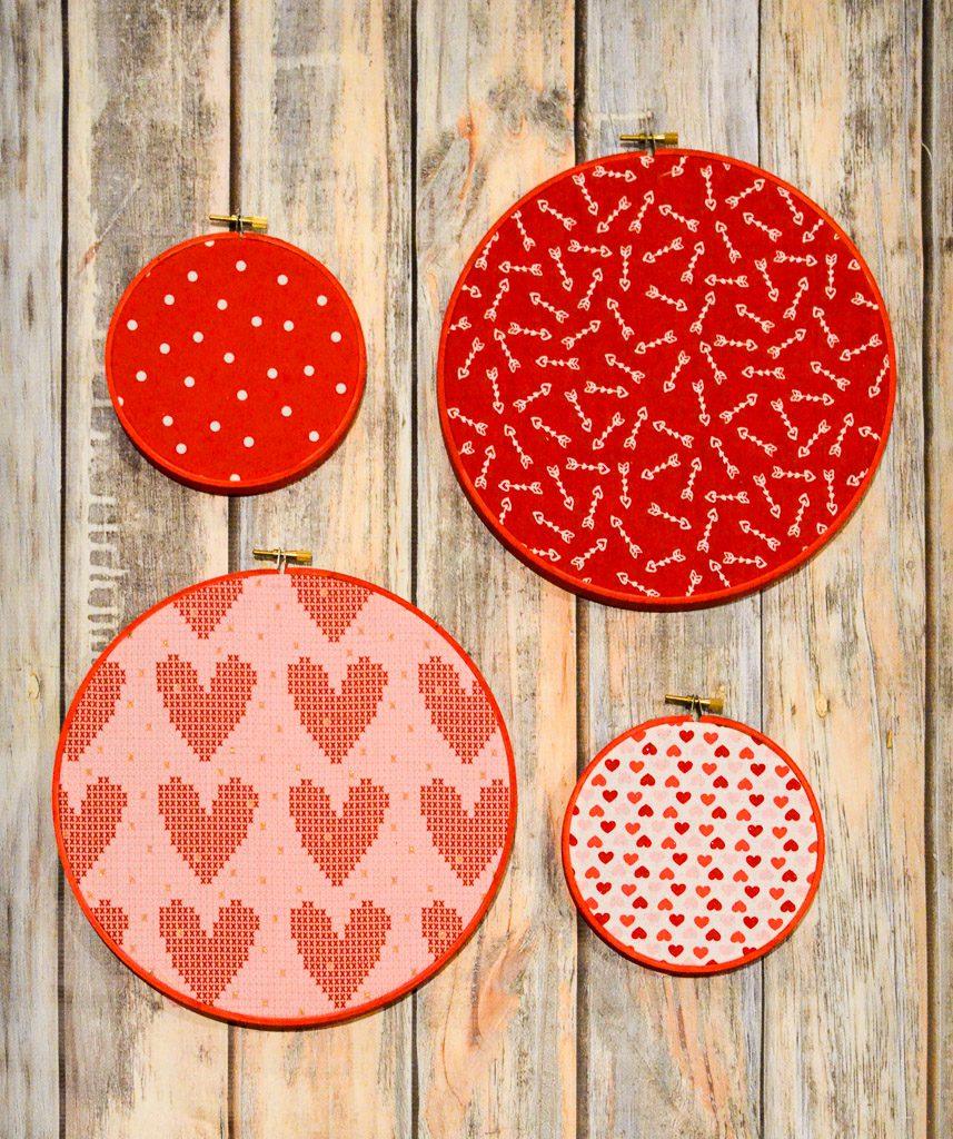 Easy Valentine's Day Fabric Hoop Art