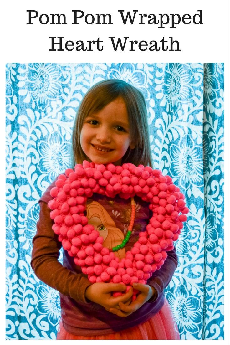 Pom Pom Wrapped Heart Wreath