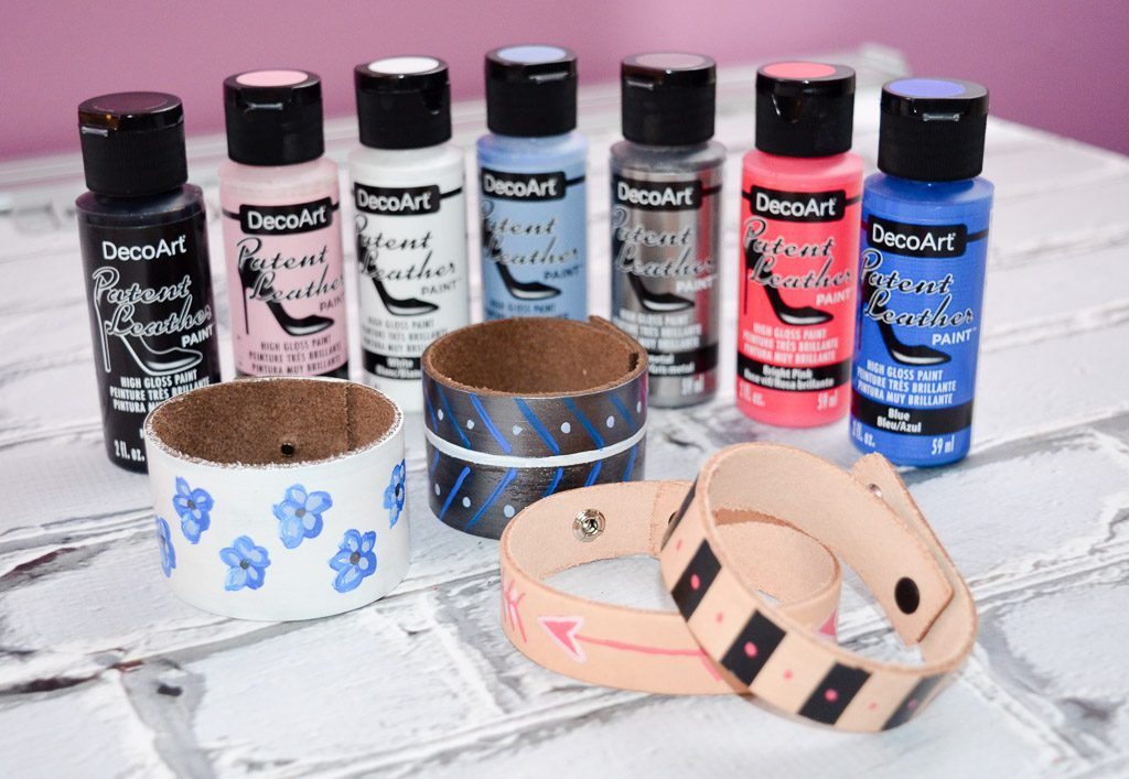 Patent Leather Painted Bracelets