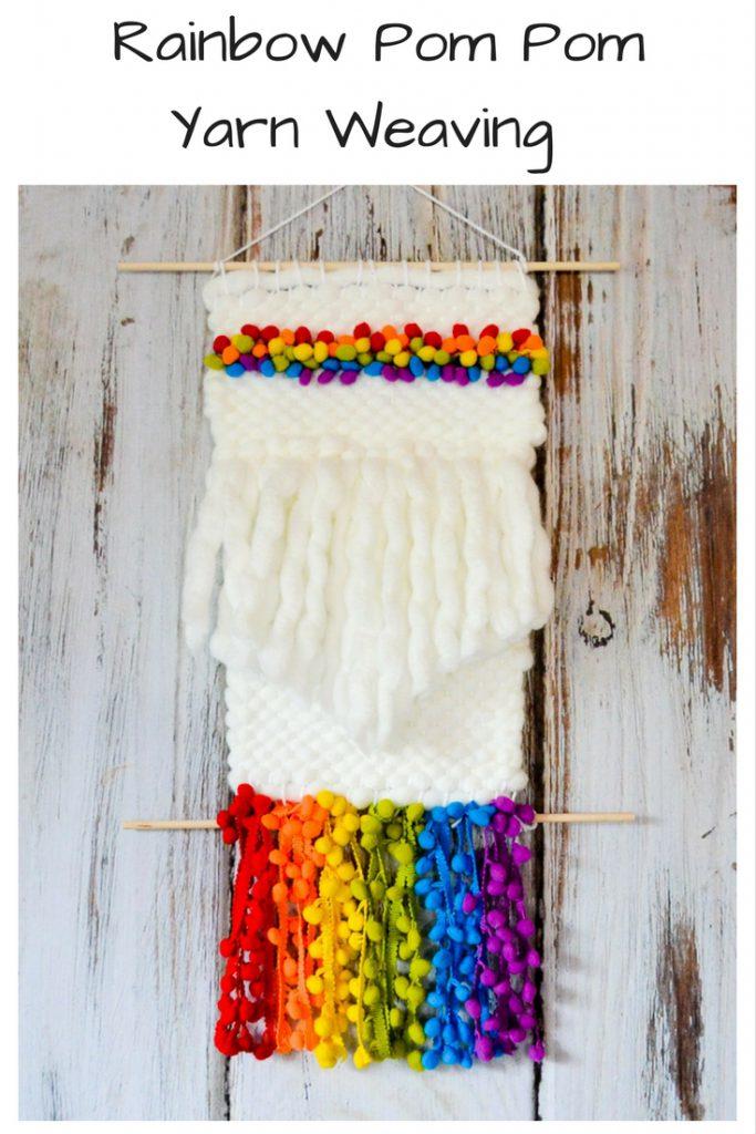 Rainbow Pom Pom Yarn Weaving