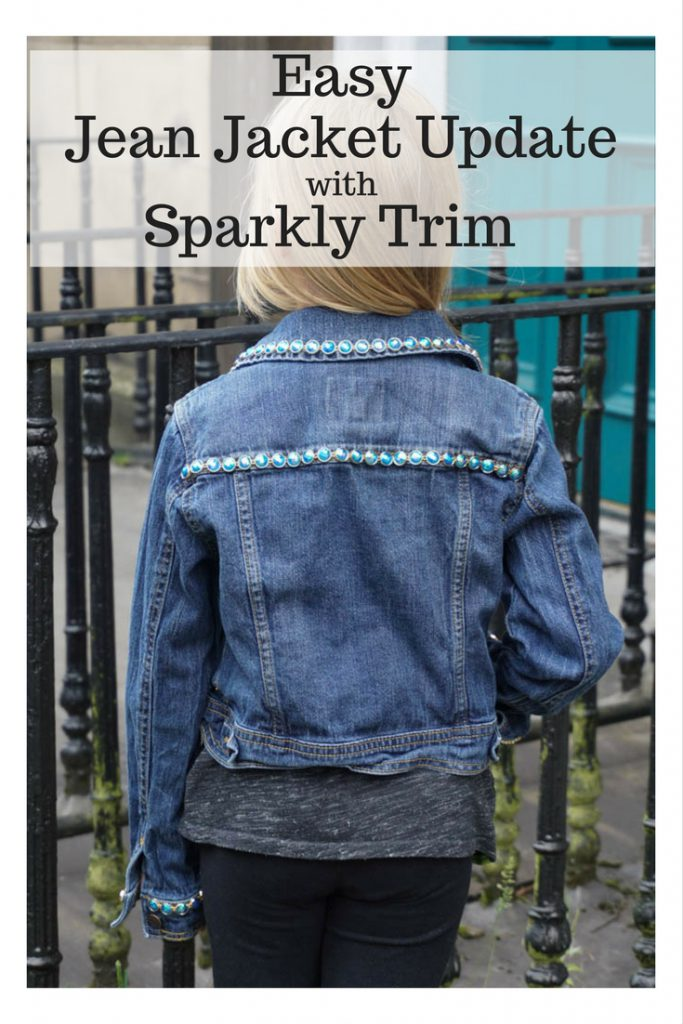 Easy Jean Jacket Update with Sparkly Trim