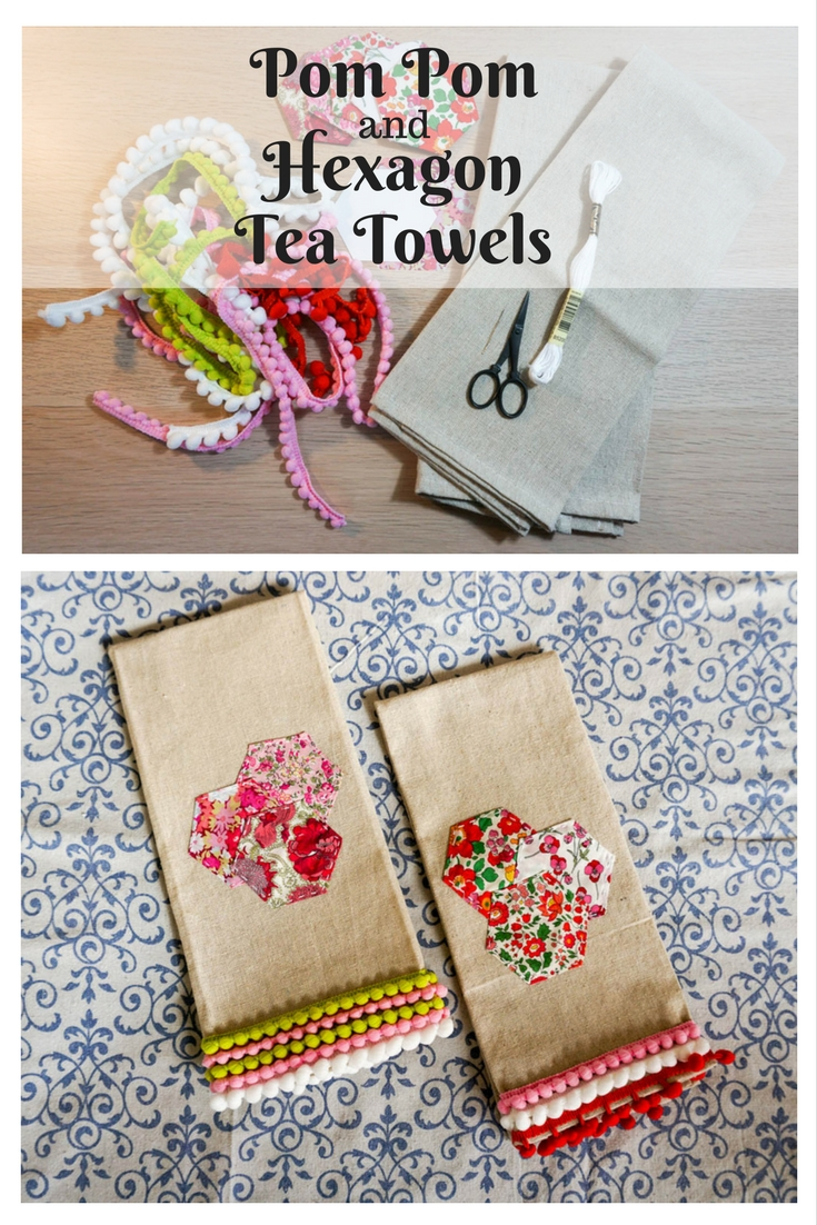 Pom Pom And Hexagon Tea Towels