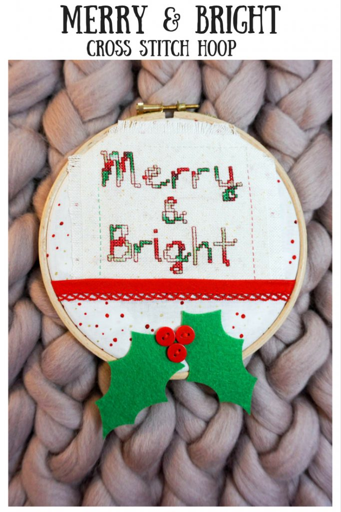 Merry & Bright Cross Stitch Hoop