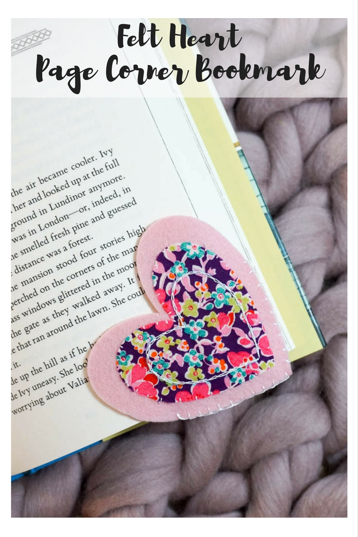Felt Heart Page Corner Bookmark