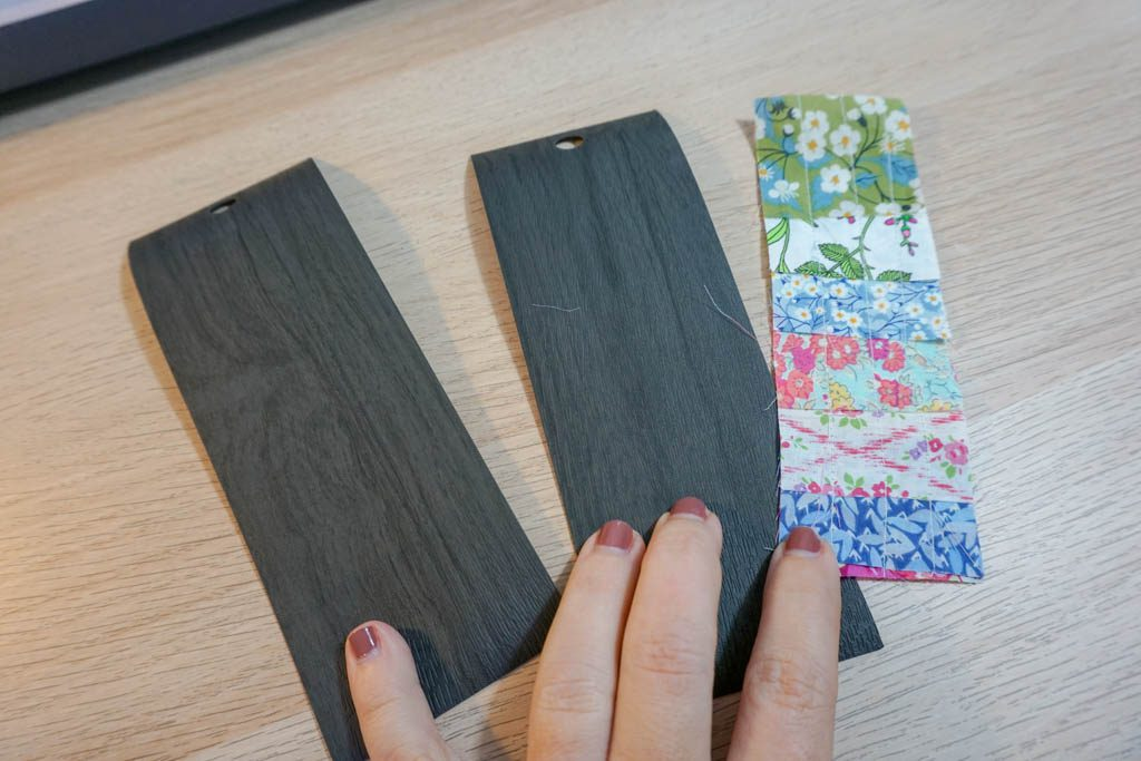 Fabric Scraps and Faux Leather Bookmark