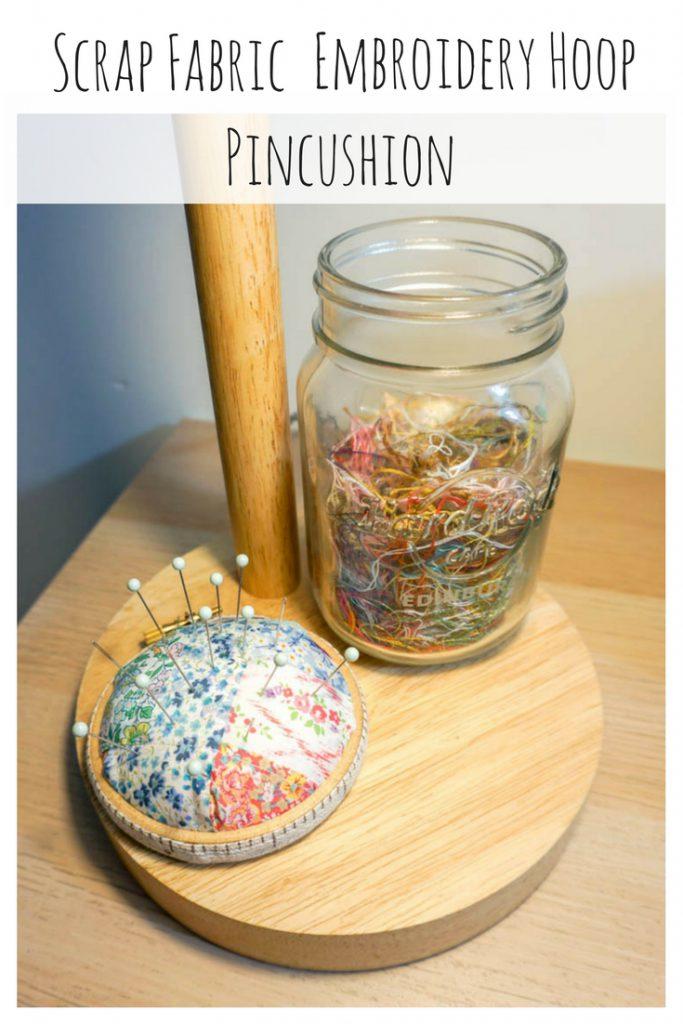 Scrap Fabric Embroidery Hoop Pincushion